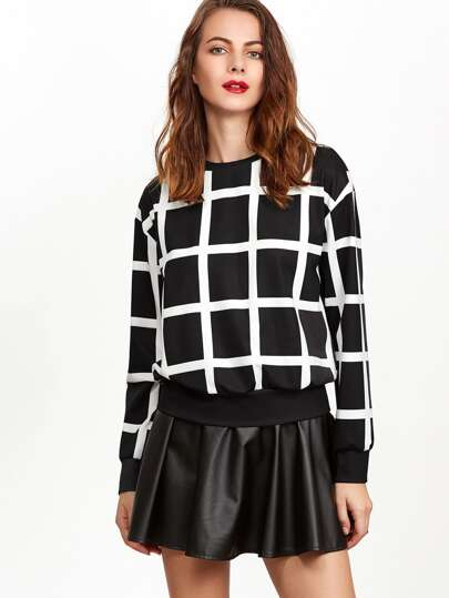 Black And White Grid Drop Shoulder Sweatshirt