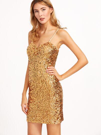 Gold Sequin Sheath Slip Dress