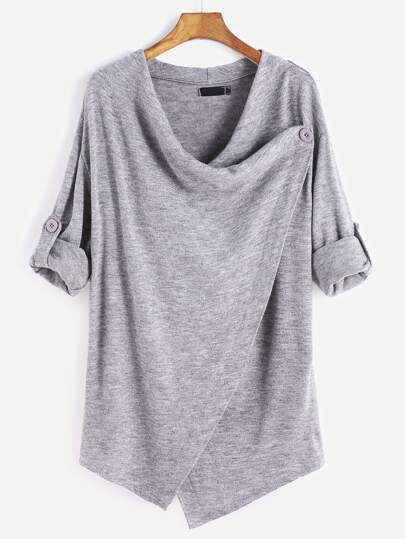 Grey Roll Tab Sleeve Asymmetric Hem Cardigan