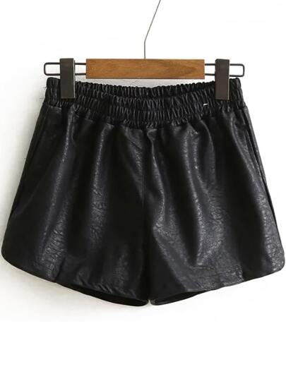 Shorts en PU taille élastique -noir