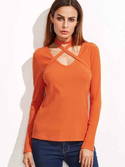 Orange Ribbed Knit T-shirt With Crisscross Halter Detail