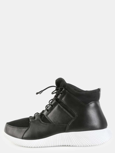 Thin Lace High Top Sneakers BLACK
