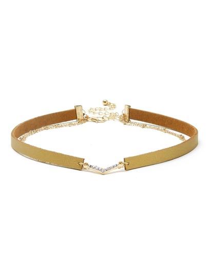Gold Faux Leather Layered Chain Rhinestone Choker Necklace