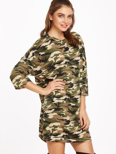 Camouflage Print 3/4 sleeve Tee Dress