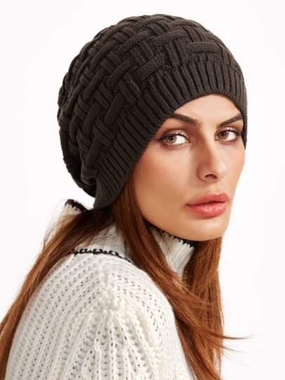 Chapeau tricoté avec ligne - brun
