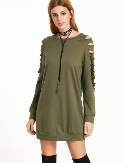 Olive Green Ripped Raglan Sleeve Sweatshirt Dress