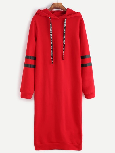 Red Striped Sleeve Hooded Sweatshirt Dress