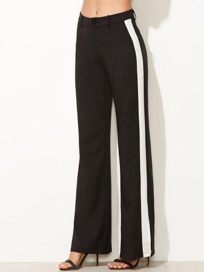 Pantalons larges avec panneau contrasté - noir