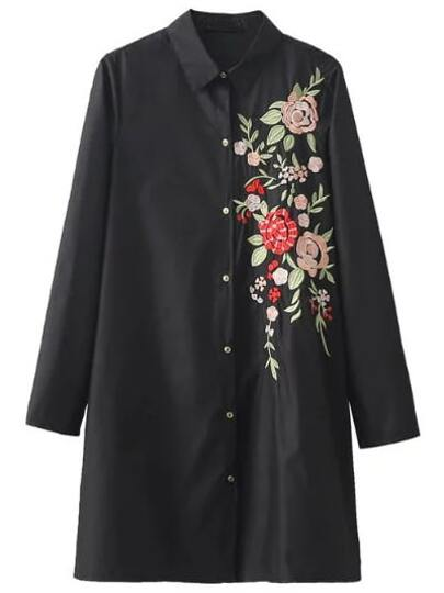 Black Floral Embroidery Long Blouse