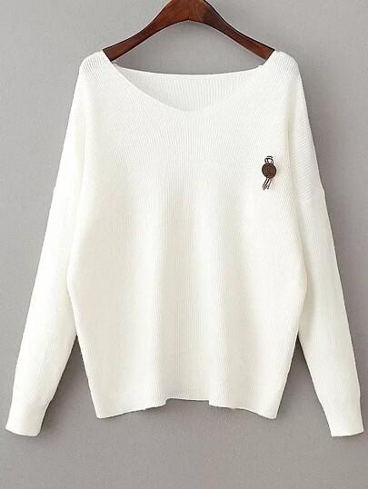 White V Neck Drop Shoulder Loose Sweater With Brooch