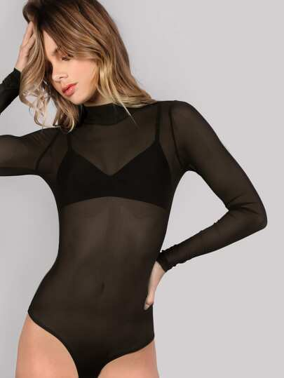 Mock Neck manica lunga Mesh Body NERO