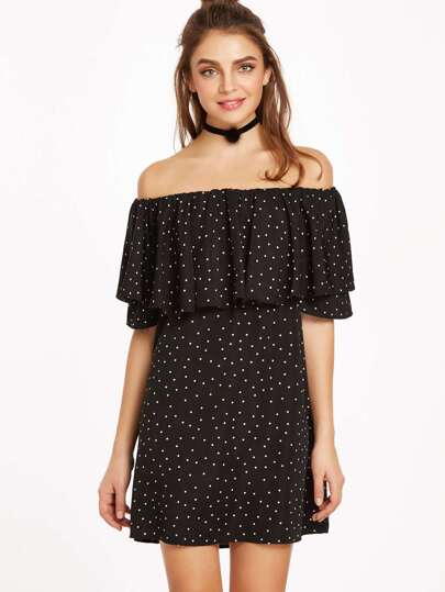 Black Polka Dot Print Off The Shoulder Ruffle Dress