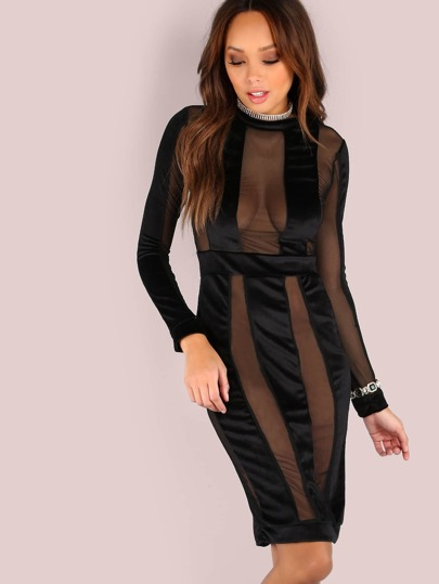 Mesh Suede Sleeved Midi Dress BLACK
