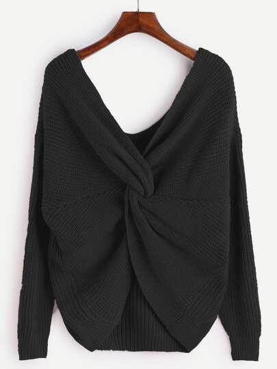 Black V Neck Knot Sweater