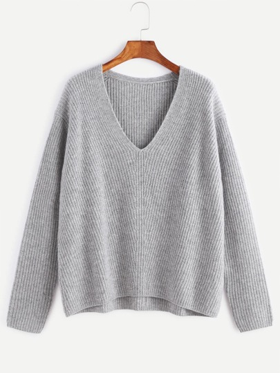 Pullover V-Ausschnitt Drop Schulter Chervon Strick -grau