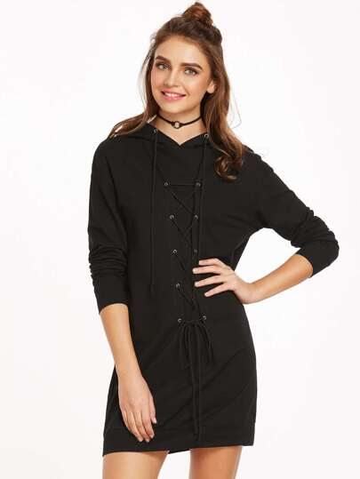 Black Eyelet Lace Up Hooded Sweatshirt Dress