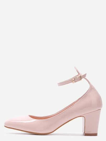 Nude Patent Leather Ankle Strap Chunky Heels
