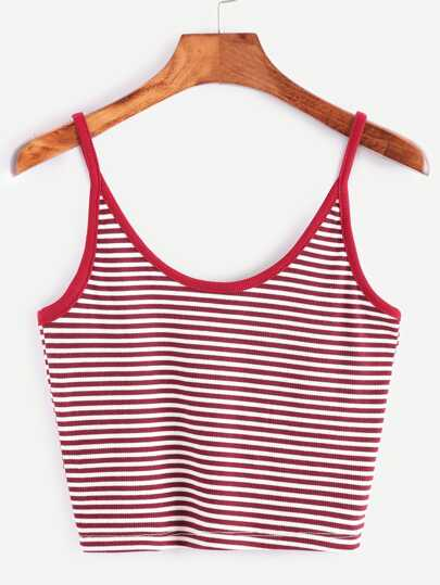 Burgundy Striped Crop Cami Top