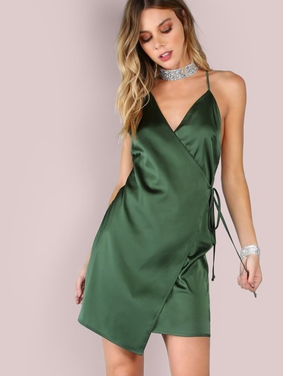 Crisscross Low Back Satin Wrap Dress EMERALD
