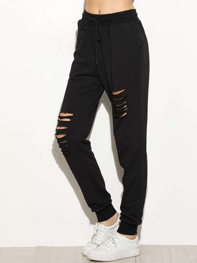 Black Ripped Drawstring Sweatpants