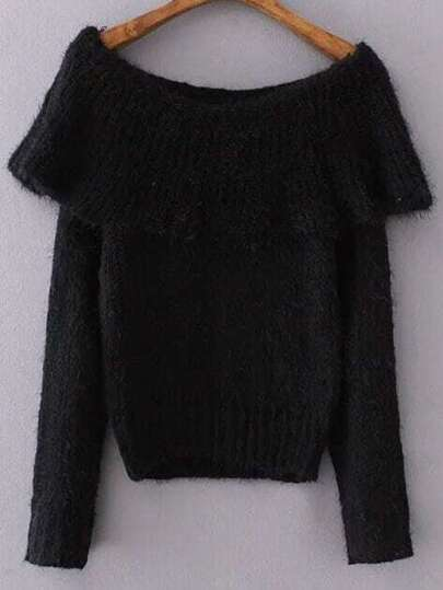 Black Boat Neck Long Sleeve Sweater