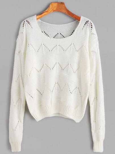 White Eyelet Long Sleeve Sweater