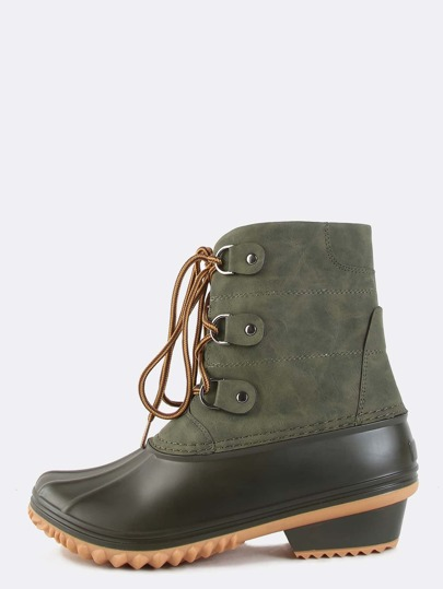 Chunky Heel Duck Boots OLIVE