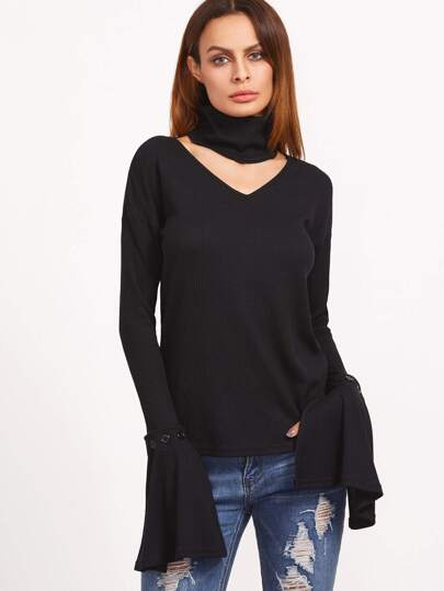 Black Ribbed Knit Buttoned Ruffle Cuff T-shirt With Detachable Collar