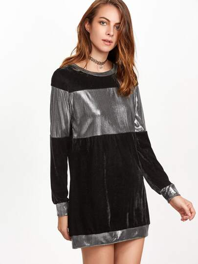 Black Contrast Metallic Trim Sweatshirt Dress