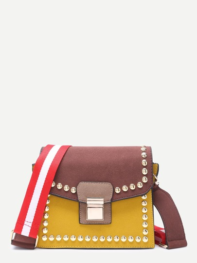 Cofffee and Yellow Stylish Studded Trim Flap Leather Shoulder Bag