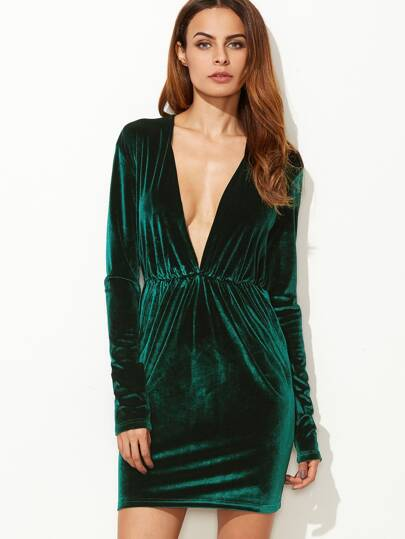 Dark Green Plunge Neck Elastic Waist Velvet Dress