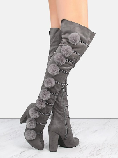 Faux Suede Chunky Heel Pom Boots GRAY