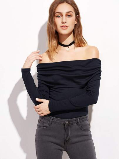 Navy Ruched Off The Shoulder Cutout Lace Up Back T-shirt