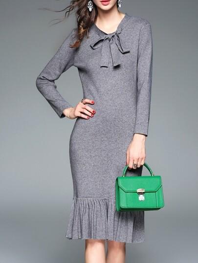 Grey Bowknot Frill Sheath Dress