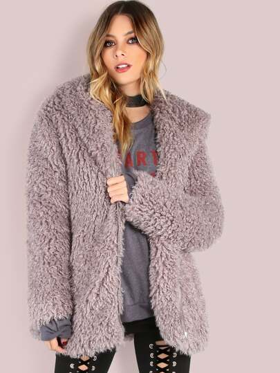 Grey Zip Up Faux Fur Coat