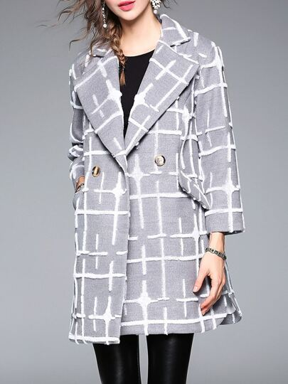 Grey Lapel Applique Pouf Coat