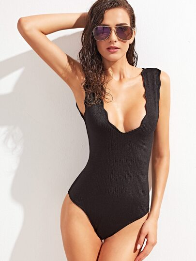 Black Scallop Trim One Piece Swimwear