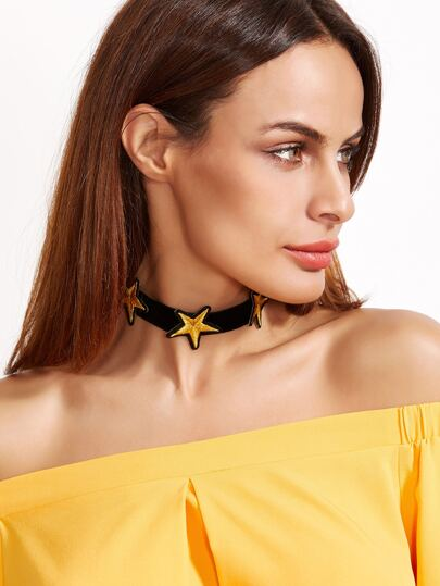 Yellow Star Black Flannel Choker Necklace