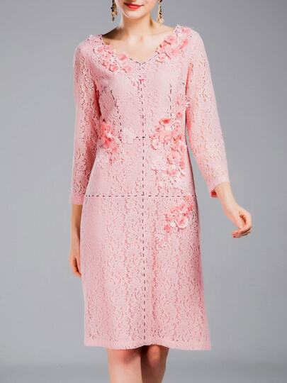 Pink V Neck Flowers Applique Lace Dress