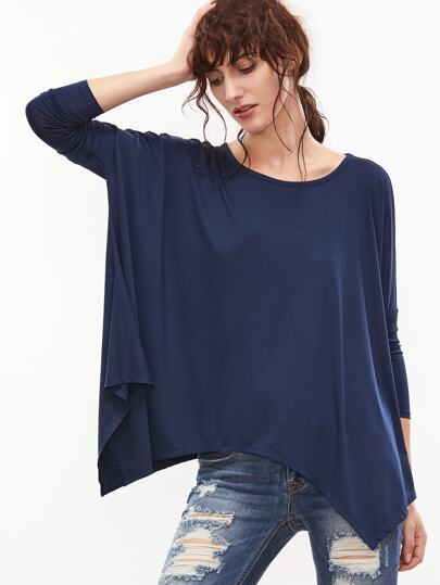Navy Dolman Sleeve Oversized Asymmetric T-shirt