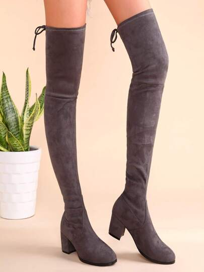 Grey Suede Tie Back Chunky Heel Thigh High Boots