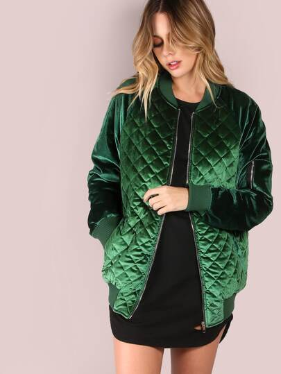 Green Zip Up Quilted Bomber Jacket