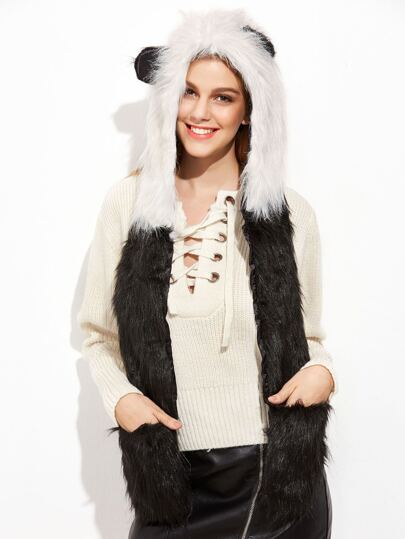 Black And White Panda Fluffy Hood Hat With Pockets