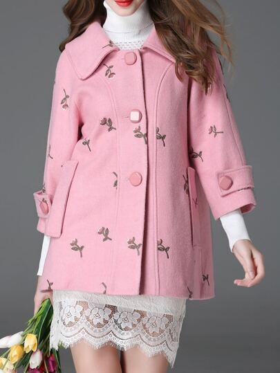 Pink Lapel Flowers Embroidered Coat