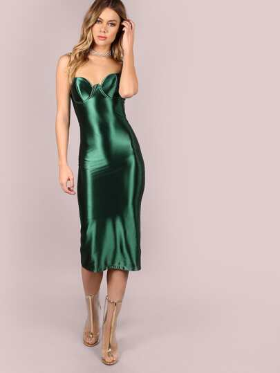 Green Slit Back Bustier Cami Sheath Dress
