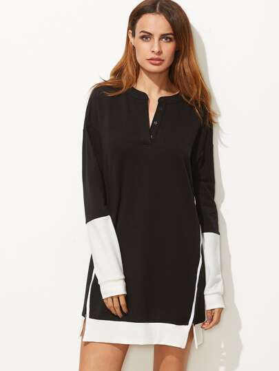 Contrast Hidden Placket Contrast Binding Slit Sweatshirt Dress