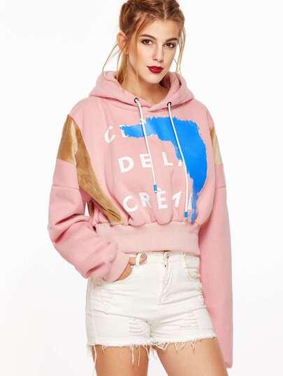 Pink Printed Hooded Drop Shoulder Contrast Velvet Crop Sweatshirt