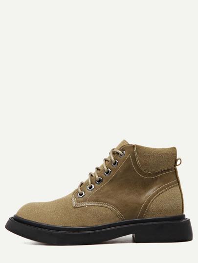 бежевые кожаные круглые мартин-ботинки