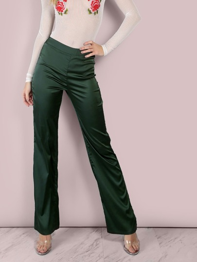 Tailored Satin Wide Leg Pants HUNTER GREEN
