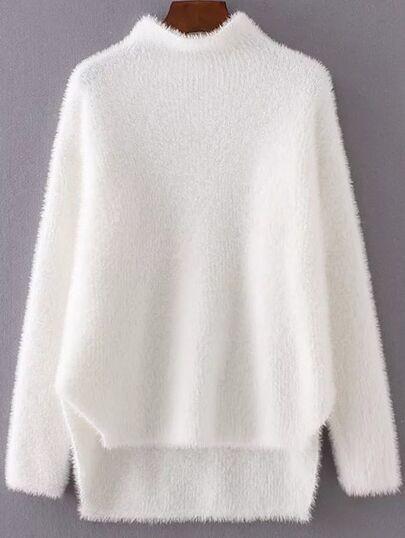 White Mock Neck Dip Hem Sweater